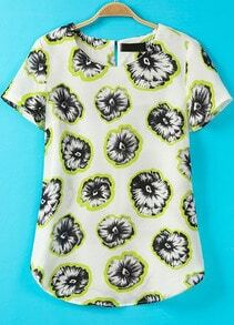 White Short Sleeve Lemon Print Chiffon Blouse
