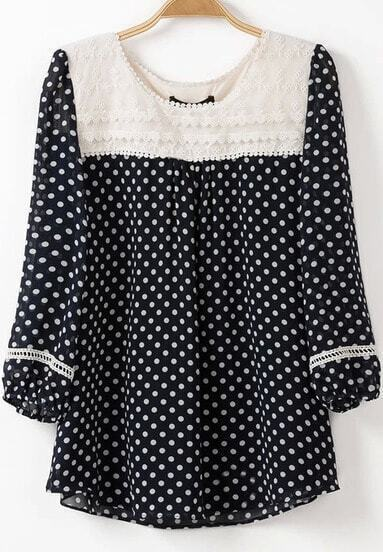 Navy Long Sleeve Contrast Collar Polka Dot Blouse