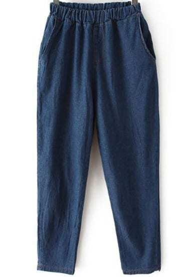 Navy Elastic Waist Pockets Loose Pant