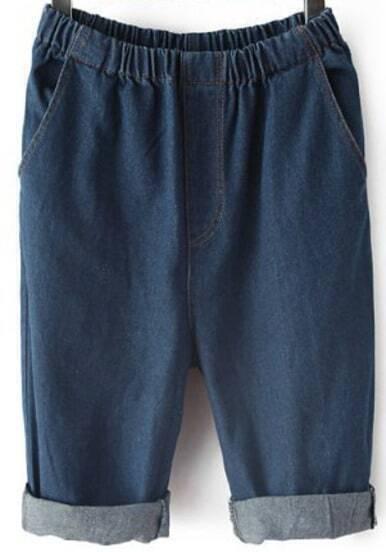 Navy Elastic Waist Pockets Half Pant