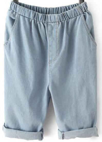 Blue Elastic Waist Pockets Half Pant