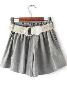 Grey Elastic Waist Belt Loose Shorts