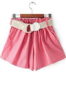 Red Elastic Waist Belt Loose Shorts