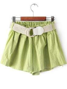 Green Elastic Waist Belt Loose Shorts