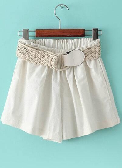 White Elastic Waist Belt Loose Shorts