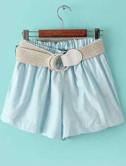 Blue Elastic Waist Belt Loose Shorts