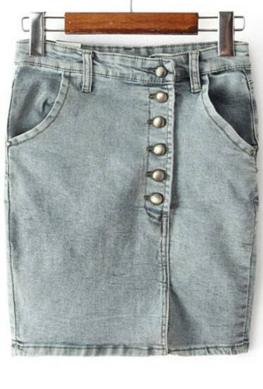 Blue Vintage Pockets Bodycon Denim Skirt