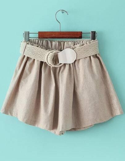 Apricot Elastic Waist Belt Loose Shorts