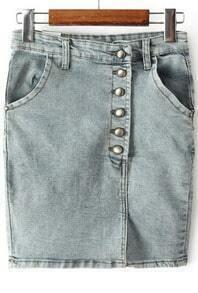 Blue Vintage Pockets Bodycon Denim Skirt