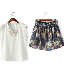 White Sleeveless Bead Vest With Navy Floral Skirt