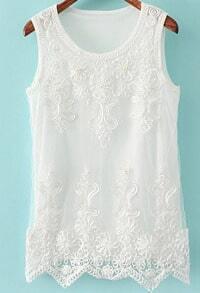 White Sleeveless Embroidered Mesh Yoke Vest