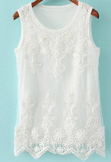White Sleeveless Embroidered Mesh Yoke Vest