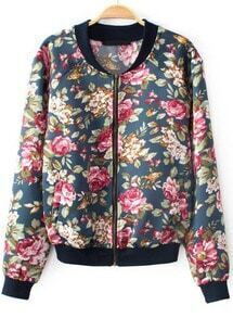 Navy Stand Collar Long Sleeve Floral Jacket