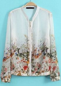 White Stand Collar Floral Sheer Chiffon Jacket