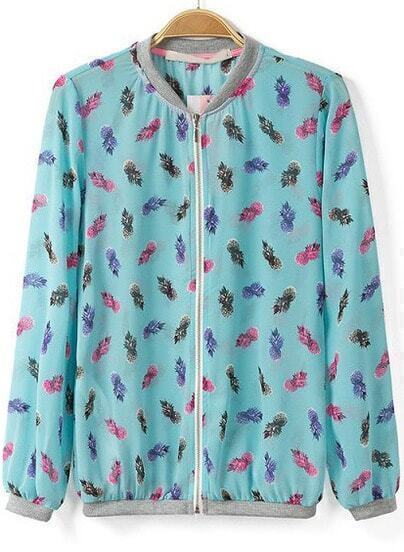 Blue Stand Collar Long Sleeve Pineapple Print Jacket