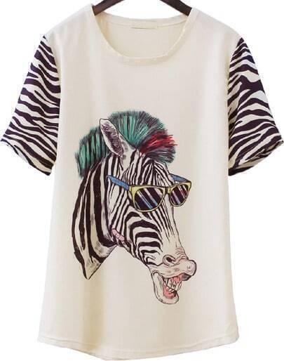 Apricot Short Sleeve Zebra Print Loose T-Shirt