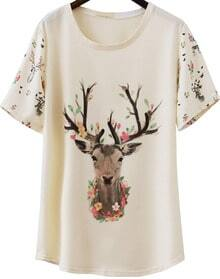 Apricot Short Sleeve Deer Print Loose T-Shirt