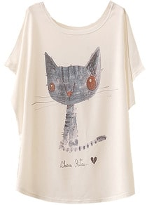 White Batwing Short Sleeve Cat Animal Print T-Shirt Tshirt