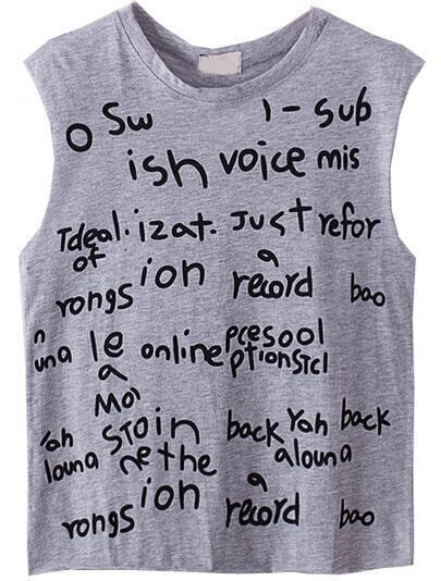 Grey Sleeveless Letters Print Slim Vest