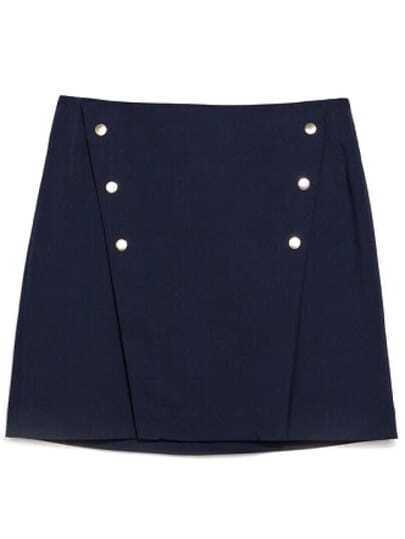 Navy High Waist Buttons Bodycon Skirt