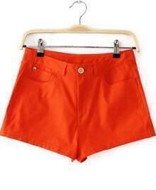 Orange Pockets Straight Shorts