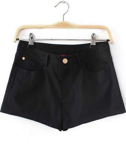 Black Pockets Straight Shorts