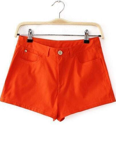 Orange Pockets Straight Shorts