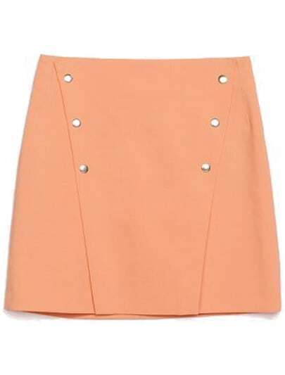 Orange High Waist Buttons Bodycon Skirt