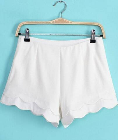 White Cascading Ruffle Straight Shorts