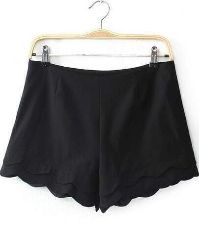 Black Cascading Ruffle Straight Shorts