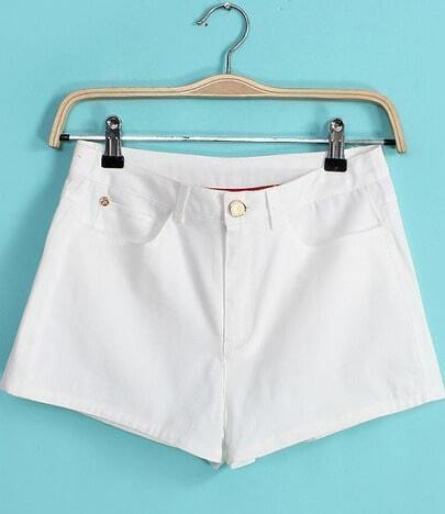 White Pockets Straight Shorts