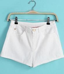 White Pockets Straight Shorts