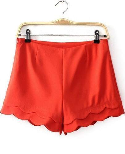 Red Cascading Ruffle Straight Shorts