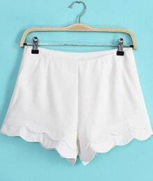 White Cascading Ruffle Straight Shorts