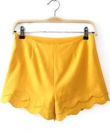 Yellow Cascading Ruffle Straight Shorts
