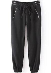 Black Elastic Drawstring Waist Zipper Pant