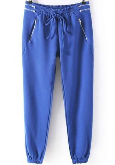 Blue Elastic Drawstring Waist Zipper Pant