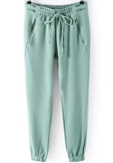 Green Elastic Drawstring Waist Zipper Pant