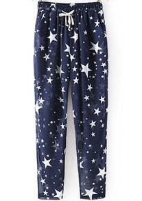 Navy Drawstring Waist Stars Print Pant