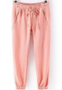 Pink Elastic Drawstring Waist Zipper Pant