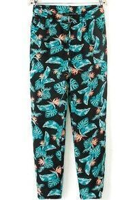 Black Green Leaves Print Crop Pant
