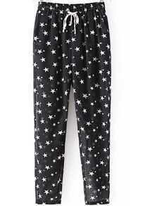 Black Drawstring Waist Stars Print Pant