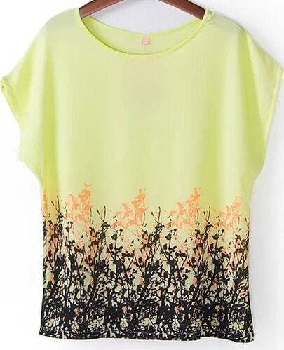 Yellow Short Sleeve Floral Loose Chiffon Blouse