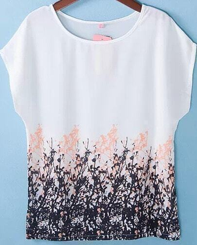 White Short Sleeve Floral Loose Chiffon Blouse