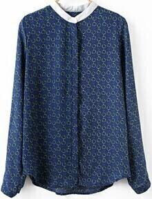 Blue Contrast Collar Chain Print Blouse