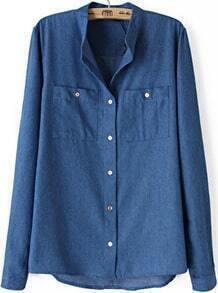 Blue Stand Collar Long Sleeve Pockets Denim Blouse