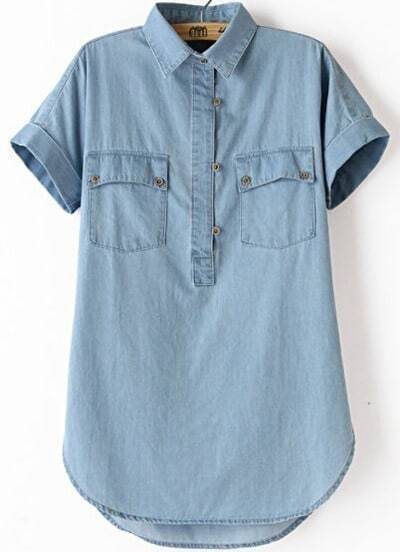 Blue Lapel Short Sleeve Pockets Boyfriend Trends Jean Swish Denim Blouse