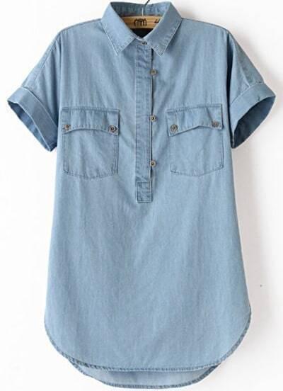 Blue Lapel Short Sleeve Pockets Boyfriend Trends Jean Swish Denim Blouse