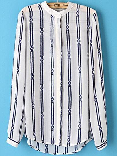 White Long Sleeve Vertical Stripe Blouse