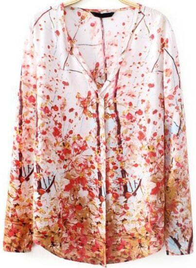 Red V Neck Long Sleeve Plum Flower Print Blouse
